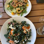 Shrimp salad and Kale salad