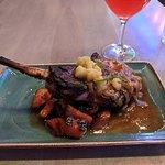 Pork Chop with Apple Chutney and Glazed Sweet Potatoes