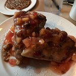 cinnamon apple fritter french toast with apple-cranberry topping