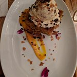 Squash cake topped with butterscotch ice cream