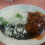 Pork ribs with black beans and white rice