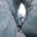 Beautiful ice tunnel on the glacier