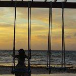 Swing on the beach near water villa