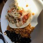 Blackened salmon taco w/rice and black beans