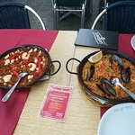 Paella with Seafood and Noodles with cuttlefish and prawns