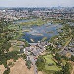 Aerial shot of London Wetland Centre