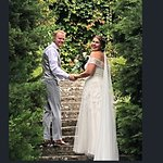 The ceremony was in the lovely garden