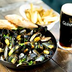 Oysters & Guinness or Mussels & Guinness? Or you can  choose one of our craft beers..