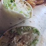 Grilled Chicken Caesar Salad Wrap with Fries