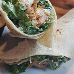Blackend Shrimp Caesar Salad Wrap with Fries