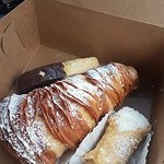 Chocolate dipped biscotti, a lobster tail, and a cannoli. All 10/10