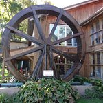 Neat water wheel at the entrance.