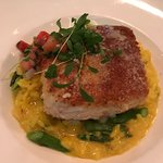 Halibut special tonight: 10-23. Incredible - porcini crusted served over saffron risotto and asp