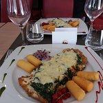 Escalope Portofino (panée, épinards crème, saumon fumé)