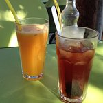OJ & cherry juice - oh my god the cherry juice is incredible, made with marinated cherries