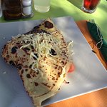 Savoury Vegetarian Crepe - lots of filling, big serving & very cheesy, thoroughly enjoyed