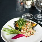 One of our vegetarian main courses, Stuffed Acorn Squash