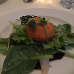 Beet and pear salad with goat cheese croquette
