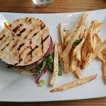Lamburger with Greek fries
