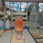 This is a healthy wonderful the refreshing spring drink LLB, along with delicious garlic bread a
