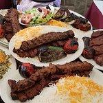 Barg and Koobideh Kebab, albaloo polo, baghali polo with lamb shank