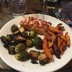 Grille salmon with Brussel sprouts and carrots