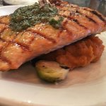 Pesto salmon with Brussel sprouts and sweet potato mash