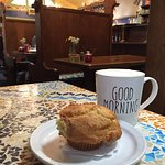 Blueberry Muffin and Cafe Au Lait at Morning Glory Restaurant