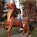 My daughter ridding horse.