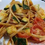 Courgettes, tomato and linguine