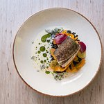 Cod with Beluga lentil and fermented carrot, kephir, pink pepper and beetroot