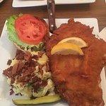 Wiener Schnitzel on a kaiser with German potato salad!