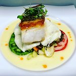 Pan Seared Sea Bass with Heirloom Tomato's, garlic mash potato's, and Summer Veggies!