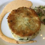 Jumbo Lump Crab Cake, lightly-pickled cucumber salad, red bell pepper remoulade