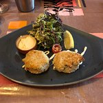 Panseared Crab Cakes with Seasonal Salad and Soya Mayonnaise