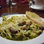 Delicious pasta served in a large plate and perfect temperature
