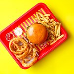 Wowburger, side of fries and onion rings