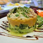 Bacalhau lascado c/ puré de batata doce