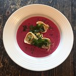 Beetroot soup with mushroom tortellini