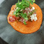 Tomato and Feta salad with red mojo sauce