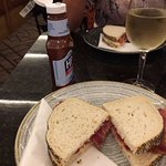 Perfect Bacon sarnie, HP sauce and nice wine - at 5.30? Excellent :)