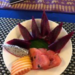 Fruit plate with red dragonfruit added