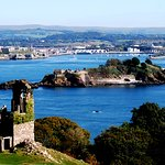 A view of Drakes Island and Plymouth from the Folly at Mount Edgcumbe Park