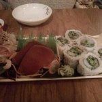 Sahimi Set (for sharing), beautiful salmon, tuna and smoked sea bass.