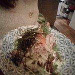 Hoe Dupbap, salad of raw fish, sushi rice,Korean chili on the side.