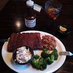 Half rack of Ribs and Pulled Pork dinner