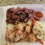 Garlic shrimp, steak, rice and potato mac