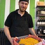 Chef Andrea Viarengo with a box of his handcut tajarin