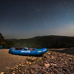 Our raft waiting under the stars