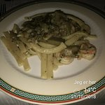 Pasta with shrimps and artichokes. Very tasteful.